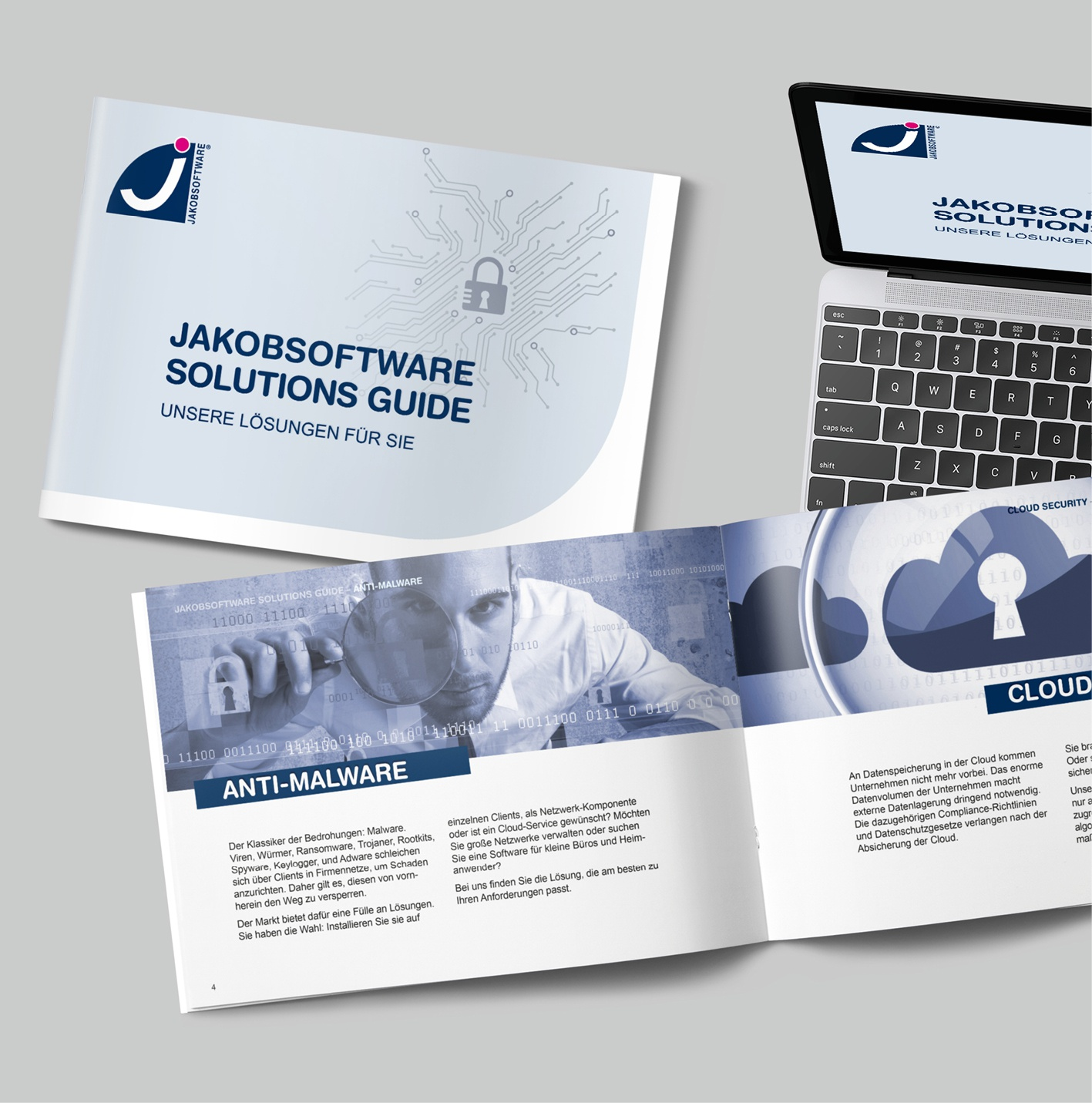 JAKOBSSOFTWARE: Auftrag über Akima Media, Broschüre, Produkt-/Salesbroschüre, print und online, Template-Erstellung