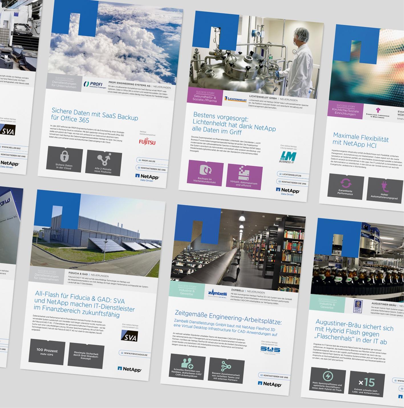 NetApp - Case Studies/Kundenreferenzen: Auftrage über Akime Media, Regelmäßige Case Studies – 4-seitig, Vorlage, Template und Umsetzung des Newsletters, deutsch oder englisch