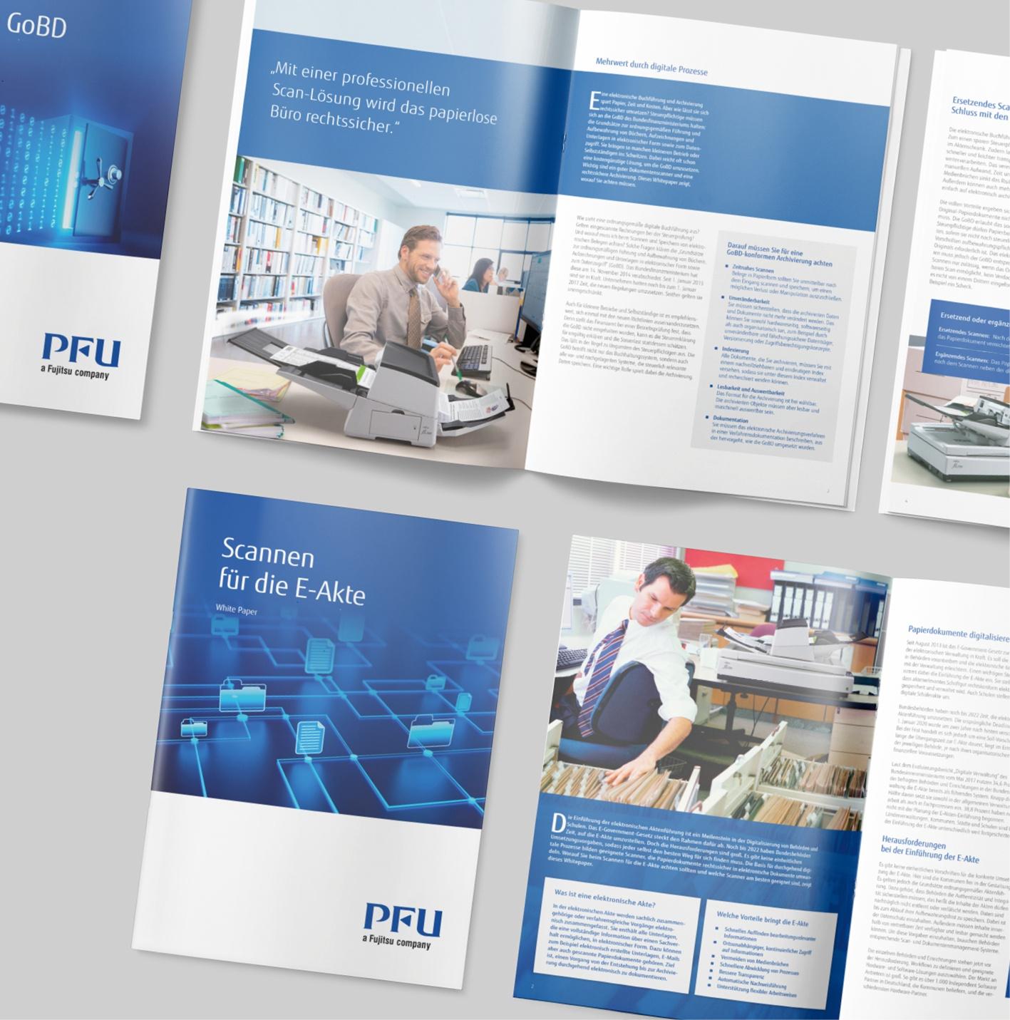 PFU a Fujitsu Company: Bildrecherche, Konzept, Broschüre, Design, Layout und Reinzeichnung. Sprachadaptionen in bis zu 4 Sprachen