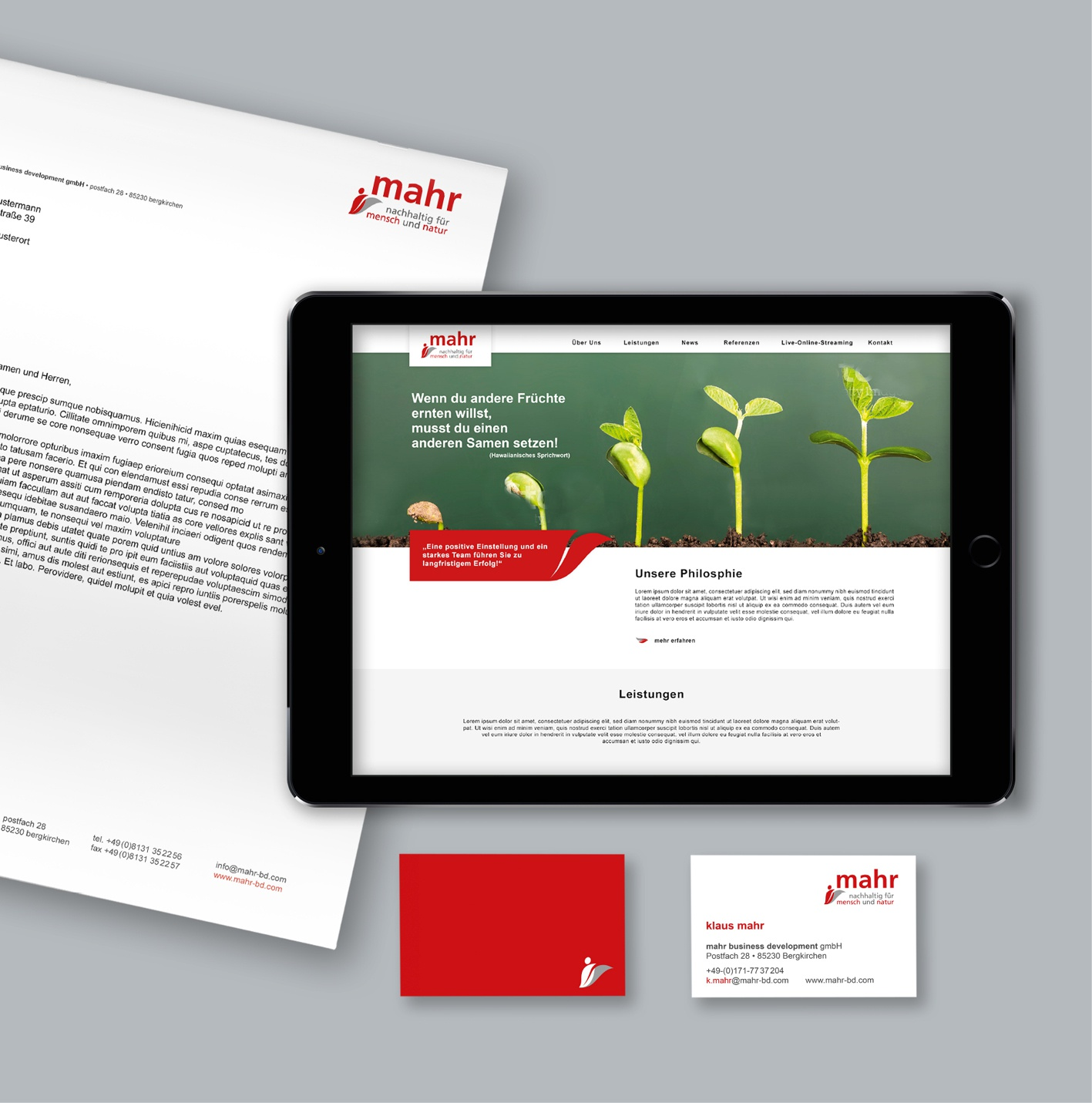mahr business development GmbH – Coroprate Design: mahr business developement – Corporate Design, Redesign Logo, Geschäftsausstattung inkl. Wordvorlagen, Website, Konzept zur Logoverwendung und Give aways