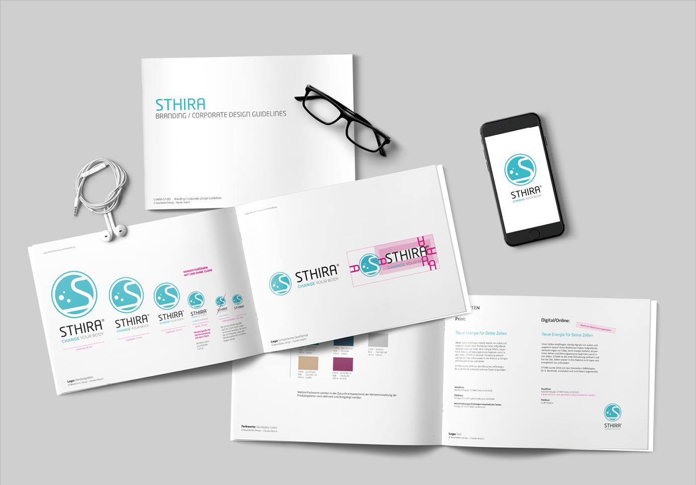 STHIRA: Logo und Corporate Design / Anzeigenkampagne mit 12 Motiven: Konzept, Icons, Grafik und Claims.