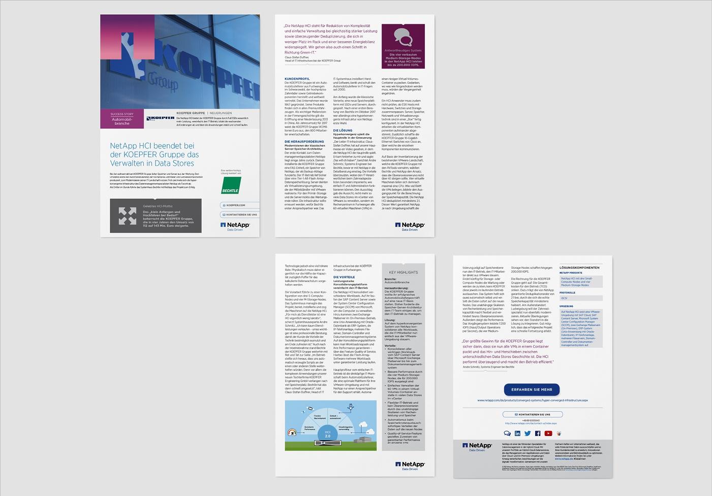 NetApp: Case Studies – Satz, Infografiken, interaktive PDFs, Kundenreferenzen, 4-Seitig, mit und ohne Infografiken