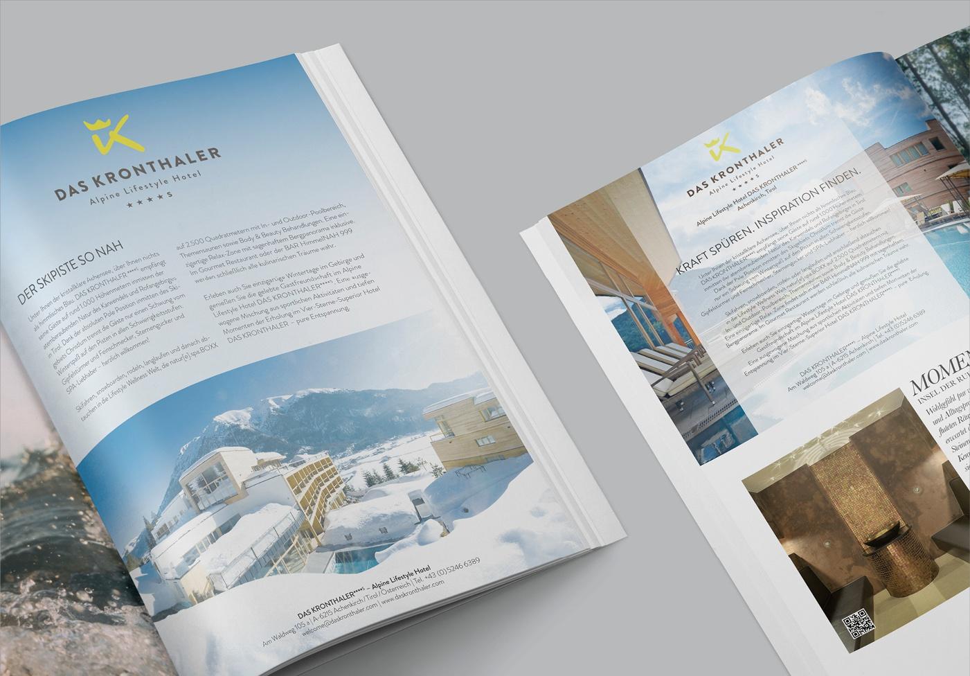 Editorial Design – DAS KRONTHALER***** Echtzeit: Kundenmagazin – Editorial Design – Zwei Ausgaben pro Jahr – ca. 88 Seiten, Hochwertiges hochweißes Naturpapier – wertige Haptik, Festlegung Kontrastwerte für das Krönchenmuster im Hintergrund, Veredelung des Covers mit UV-Lackierung bzw. Heißfolie je nach Ausgabe