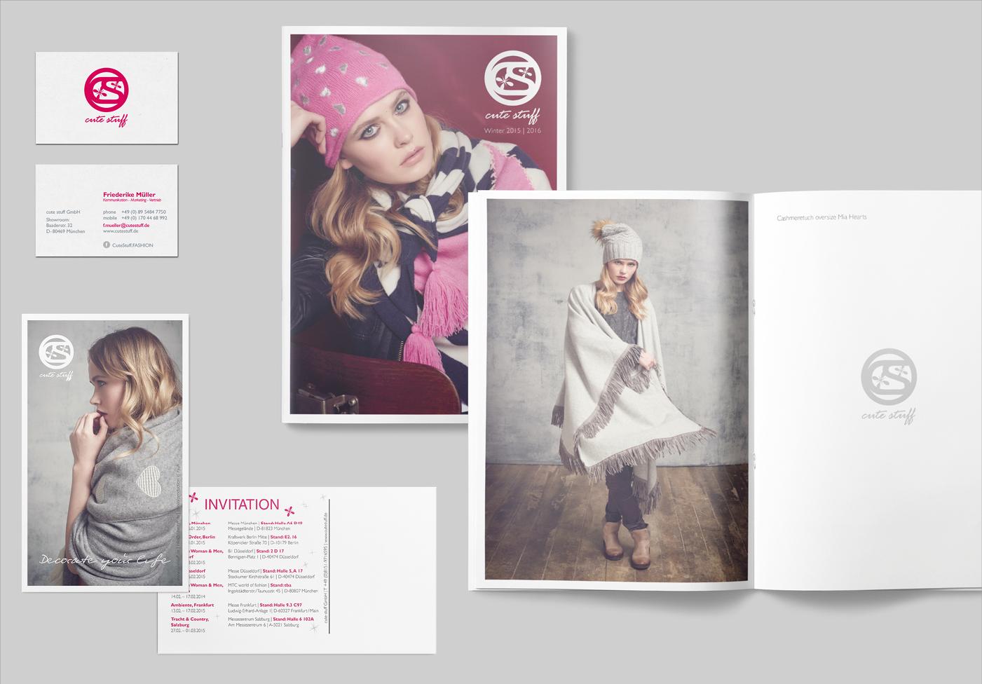cute stuff GmbH:Corporate Design Umsetzung, Auftrag über Friederike Müller, Die Starnbergerin – PR-Agentur, Visitenkarten, Lookbook, Flyer und Einladungskarte