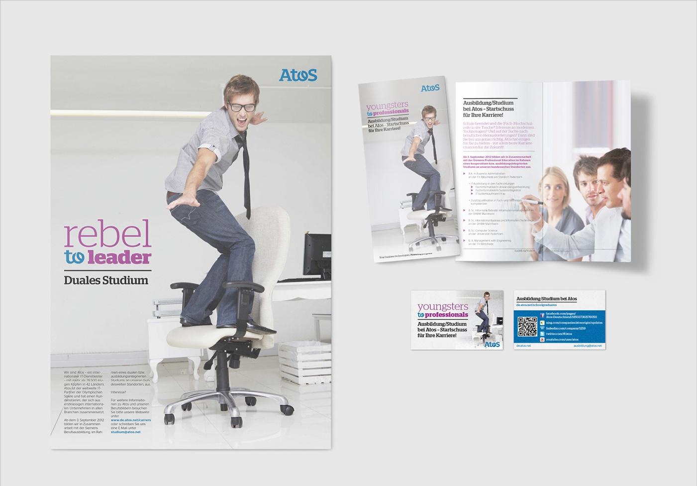 Atos: Auftrag über Akima Media - Zwei HR-Kampagnen, Poster, Visitenkarten, Flyer, Online-Banner, Stellenanzeigen