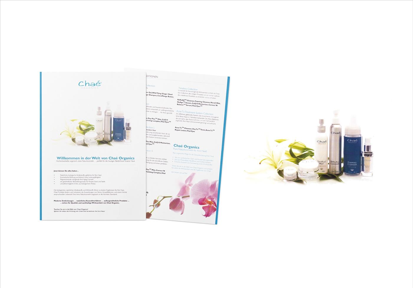 Chaé Organics – Naturkosmetik: Naturkosmetik – Unternehmenskommunikation, Produktflyer, Ettiketten und Labels für Produkte