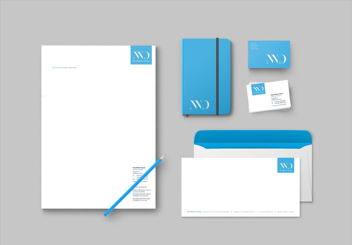 NeueWelten Design: Eigenes Redesign, Logo-Neuentwicklung, Geschäftsausstattung: Visitenkarten, Briefpapier, unterschiedliche Grußkarten, Newsletter, Kartendesign, Website