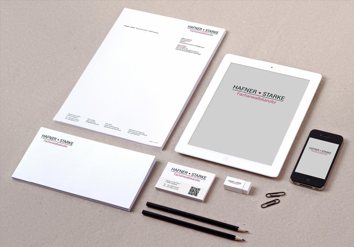 Hafner Starke | Fachanwaltskanzlei: Redesign Logo, Neu-Anpassung und Überarbeitung des Corporate Design, Briefpapier und Wordvorlagen, Visitenkarte, Firmenschild, Ideengebung Website