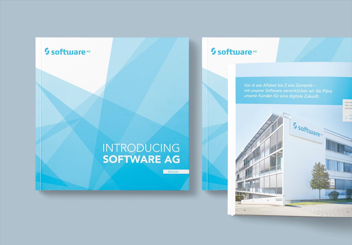 Software AG: Imagebroschüre in Deutsch und Englisch, Konzeption: Covergestaltung, Layout, Umsetzung, Infografiken, Bildbearbeitung, Reinzeichnung und Druckausgabe