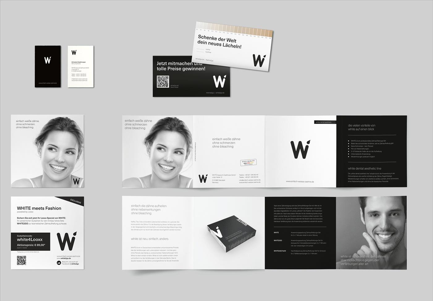 White: Corporate Design Umsetzung, Visitenkaren, Aktionsflyer, Imageflyer, Advertorials, Konzeption und Entwicklung: farbechte Farbkarte, Fotografie, Bildbearbeitung, Farbbestimmung, Reinzeichnung, online und gedruckt,