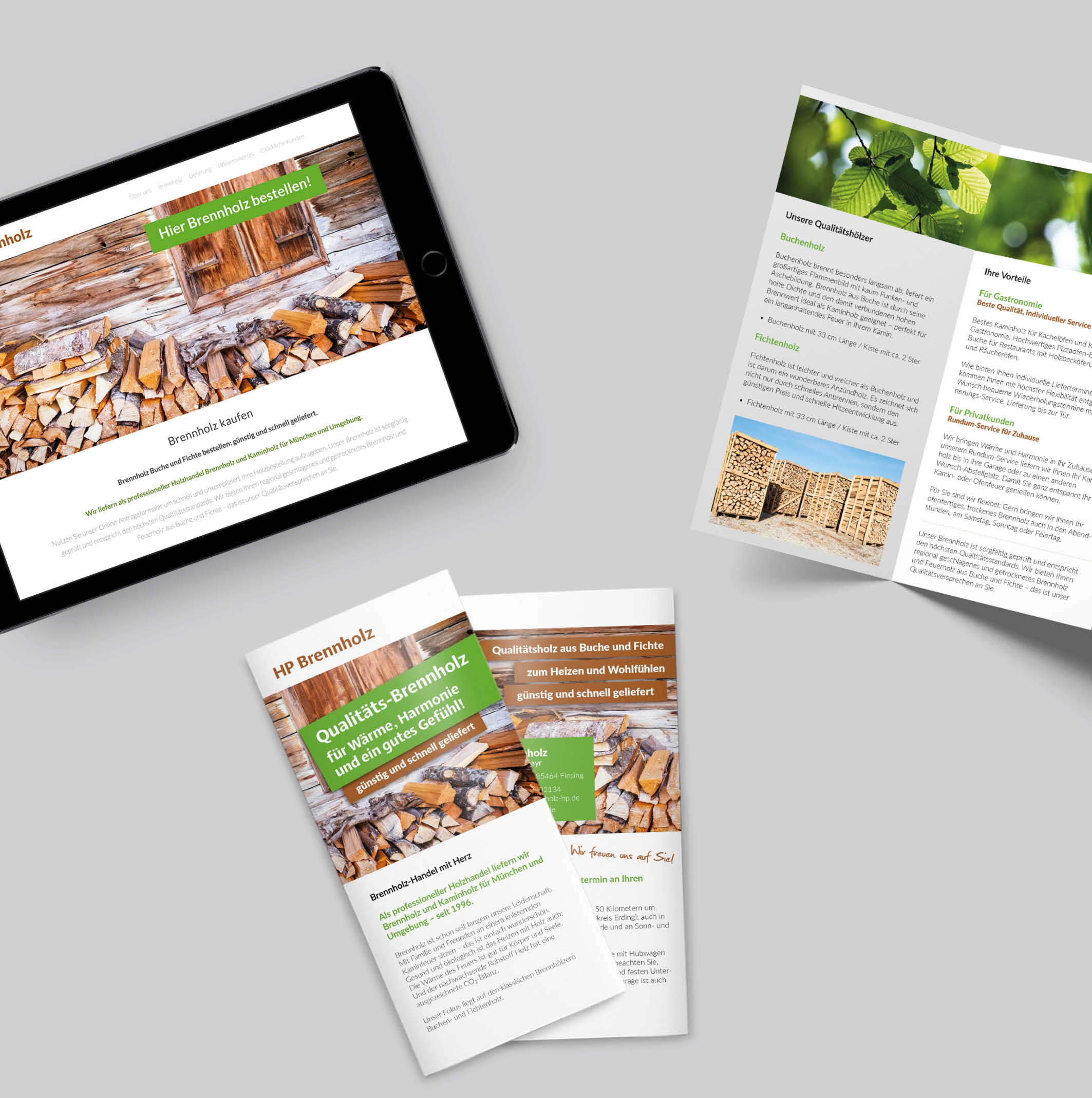 Corporate Design – HP Brennholz: Flyer und Tablet mit Website Darstellung