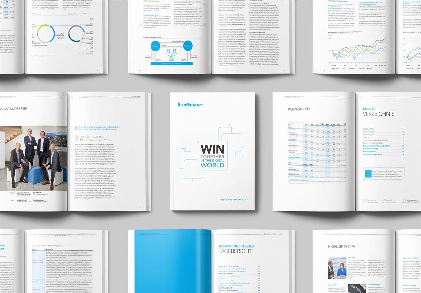 Geschäftsbericht deutsch + englisch, 180 Seiten: Grafik-Koordination & Projektmanagement: Art Direction, Konzeption, Layout, Satz, Druckausgabe