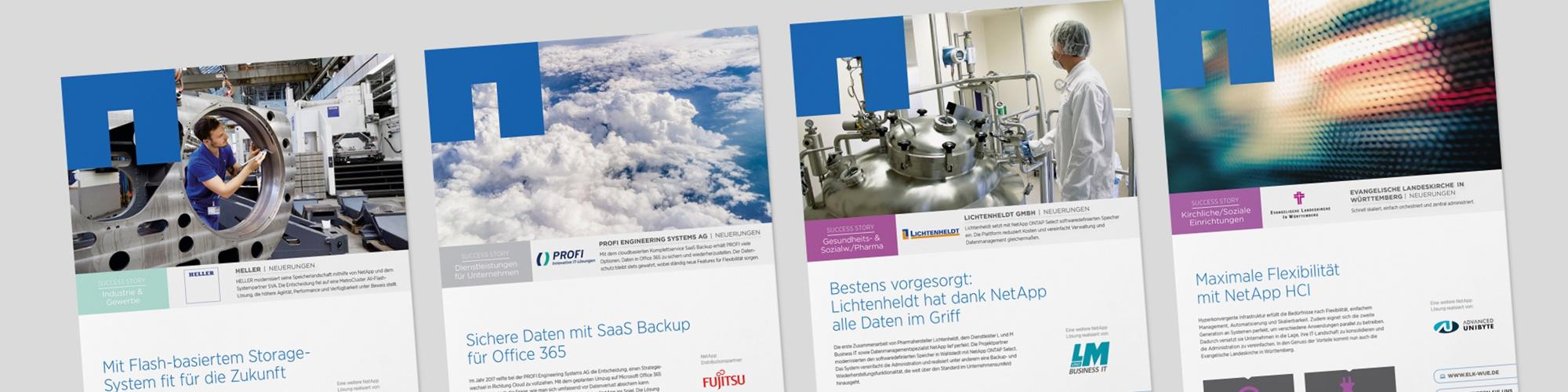NetApp: Case Studies – Satz, Infografiken, interaktive PDFs
