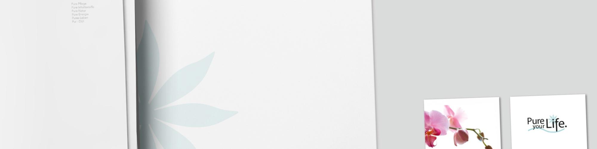 Pure your Life - Netzwerk für natürlich bewusstes Leben: Anzeigenkampagne - Corporate Design, Logo, Visitenkarte, Briefbögen, Webseite