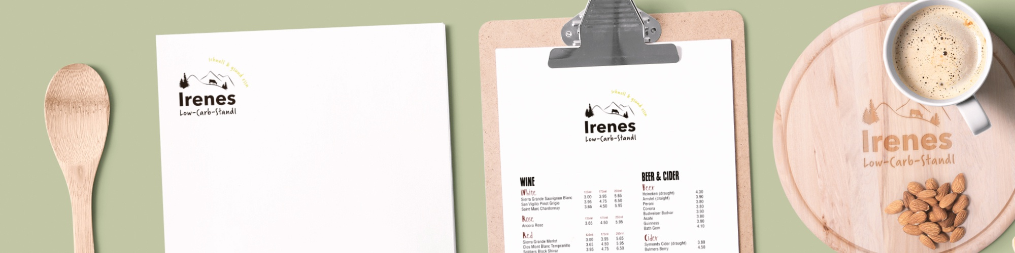 Irenes LowCarb Standl: Neuentwicklung Logo, Corporate Design-Guidelines, Geschäftsausstattung, Powerpoint-Master, Schilder,Visitenkarten, Aufkleber, Idee-Entwicklung zu Verpackungsformen und Logoverwendung, Gestaltung Imbiss-Wagen