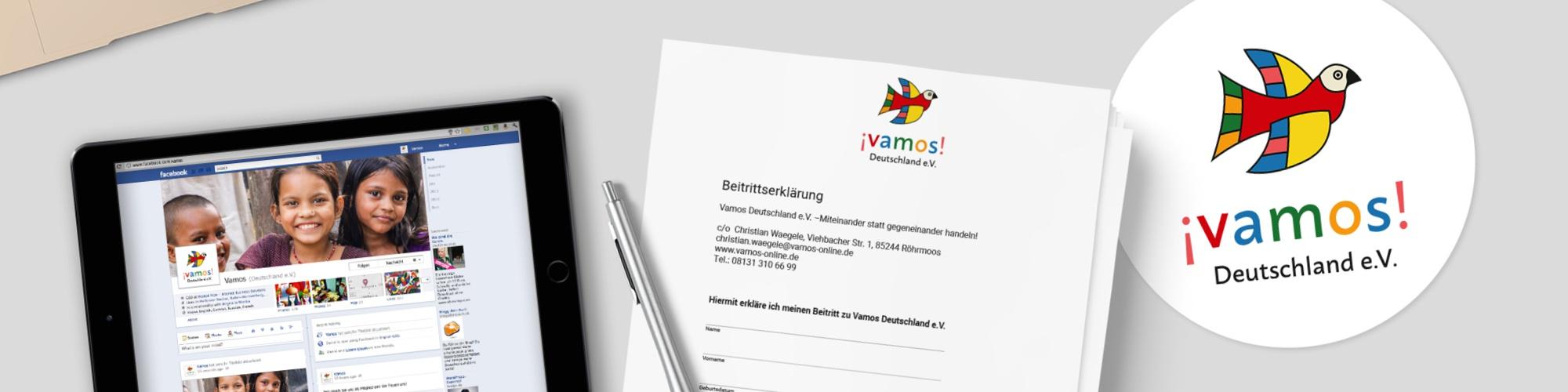 Vamos Deutschland e.V.:Redesign Logo, Website und Aufbau der Social Media Kanäle, Formulare & Satzung, Flyer, Infografik, Konzeption des Webauftritts, Koordination und Projektmanagement, Bildrecherche, Gestaltung Formulare, Imageflyer, Layout, Reinzeichnung, Druckabwicklung
