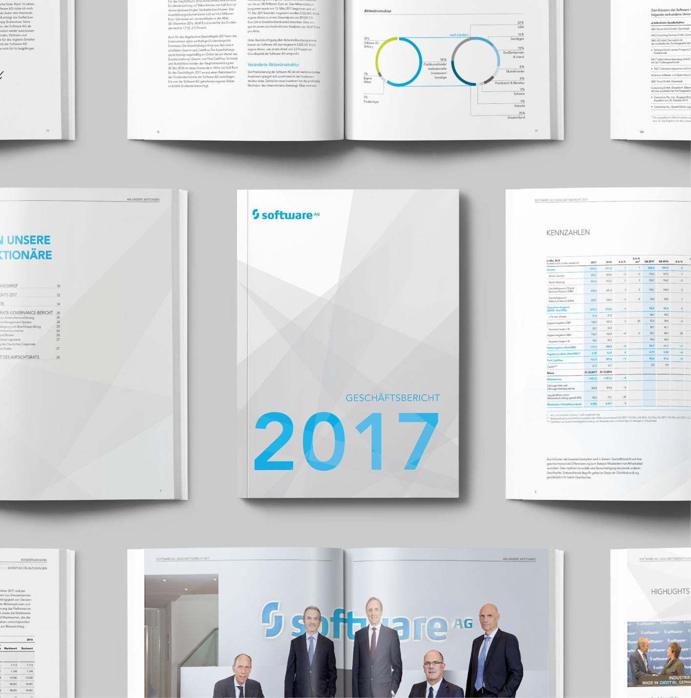 Geschäftsbericht deutsch + englisch, 240 Seiten: Grafik-Koordination & Projektmanagement: Art Direction, Konzeption, Layout, Satz, Druckausgabe