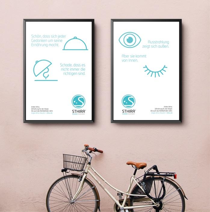 Sthira: Corporate Design – Neuentwicklung, Logo, Geschäftsausstattung, Imageflyer, Roll-up, Beipackzettel, Anzeigenkampagne mit eigens entwickelter Icongalerie, PPT-Master